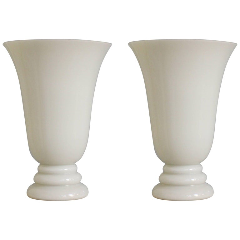 Pair of French Art Deco Style Glass Torcheres by Vianne France For Sale
