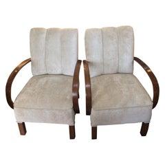 Pair of Art Deco circa 1930 German Armchairs Reupholstered