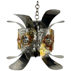 Murano Glass and Chrome Chandelier Pendant by Mazzega, Italy, 1970s