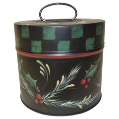 Vintage Round Tole Hand Painted Canister with Holiday Theme Hand Painted Details