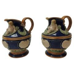 Pair of Royal Blue Ceramic Vintage Majolica Style Water Jugs