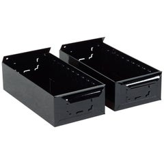 1950s Card File Drawers, Refinished in Gloss Black, Two Available