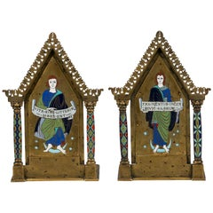 Pair of Bronze and Enamel Bookends, circa 1900