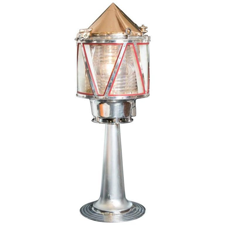 Aga Lightship or Marker Buoy Light on Stand For Sale