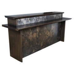 Two-Tier Live Edge Wood and Metal Bar