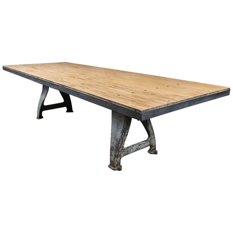 Vintage Industrial Base Bowling Alley Table For Sale