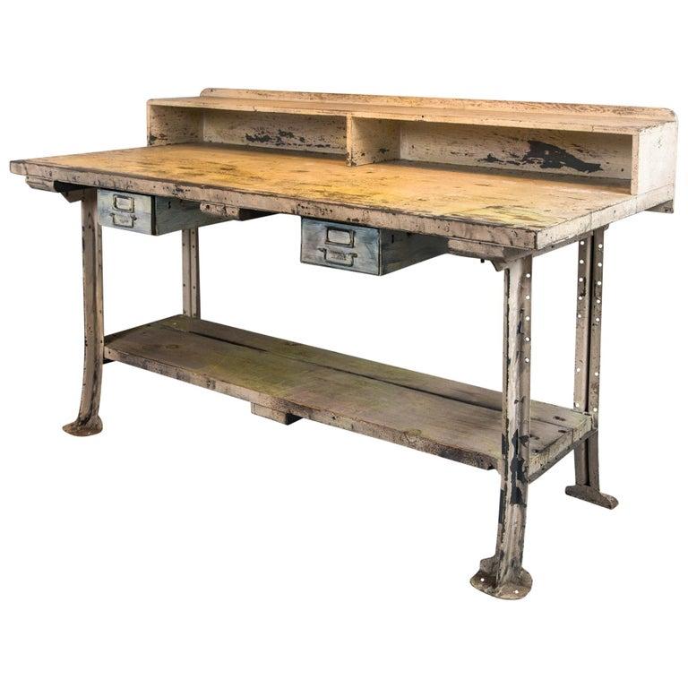 Vintage Industrial Work Desk For Sale