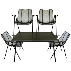 Midcentury Russell Woodard Sculptura Slate Top Dining Table with Four Chairs