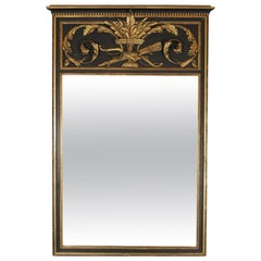 Trumeau Style Painted and Gilt Mirror