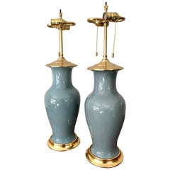 Pair of Slate Blue Ceramic Lamps on 23-Karat Water Gilt Bases