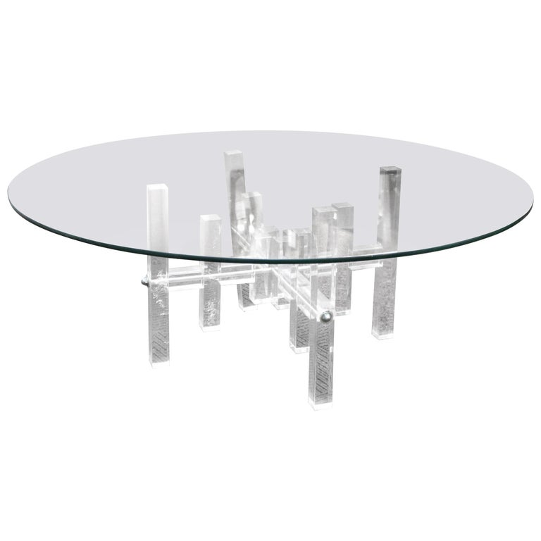 Modern Circular Glass Coffee Table with Lucite Base