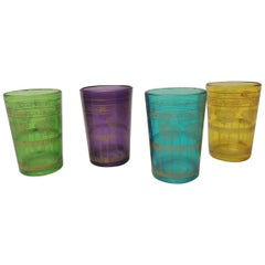 Set of Four Moroccan Colorful Tea Glasses