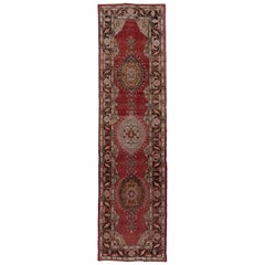 Antique Rustic and Geometric Oushak Runner