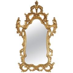 Gold Gilt Rococo Style Carved Wood Mirror Made in Spain