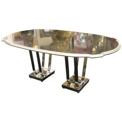 Art Deco Style Dining Table with Silver Border and Chromed Base