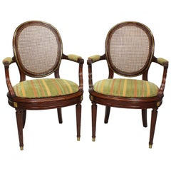 Pair of French 19th-20th Century Louis XVI Style Ormolu Mounted Dining Armchairs