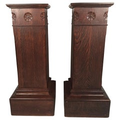 Pair of Arts & Crafts Period Carved Oak Pedestals
