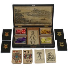 Lacquer and Stenciled Game Box with Cards, European 19th Century
