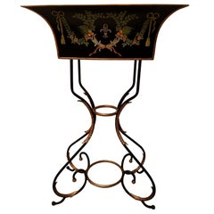 Black and Gilt Iron Hand Painted Italian Neoclassical Tole Planter