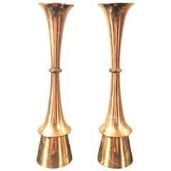 Vintage Danish Design Brass Candleholders