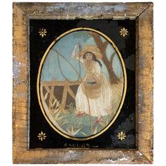 19th Century English Silk Embroidery of Woman Fishing
