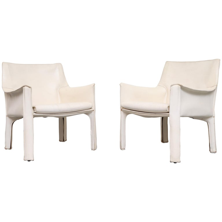 Pair of Mario Bellini White Leather Cab Chairs for Cassina
