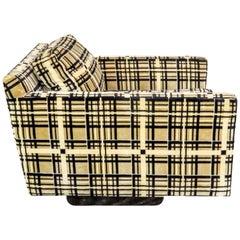 Cube Club Chair from Armstrong Furniture Co., Cream Plaid Velvet, circa 1965