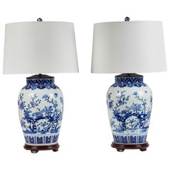 Pair of Large Fine Porcelain Blue and White Lamps with Shades