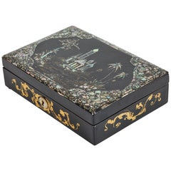 19th Century Black Lacquer Sewing Box with Mother of Pearl Inlay and Spools