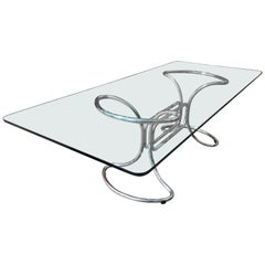 Glass and Steel Tube Dining Table by Giotto Stoppino, Italy, 1970s