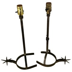 Near Pair of Iron Horseshoe Lamps