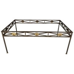 Maison Jansen Style Neoclassical Steel and Bronze Dining Table Base