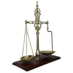 Brass Merchants Scale on Mahogany Base with Weights, English, 19th Century