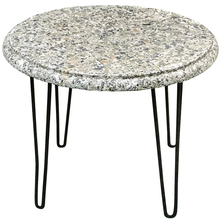 Midcentury Outdoor Patio Round Stone Top Table with Hairpin Legs, 1950s