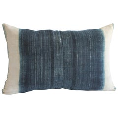 Vintage Indigo and Off-White Batik Style Pillow