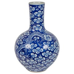 Mid-20th Century Chinese Blue and White Dragon Vase