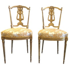 French Giltwood Salon Side Chairs, Pair