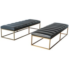 Pair of Brass and Black Channel Tufted Black Leather Benches