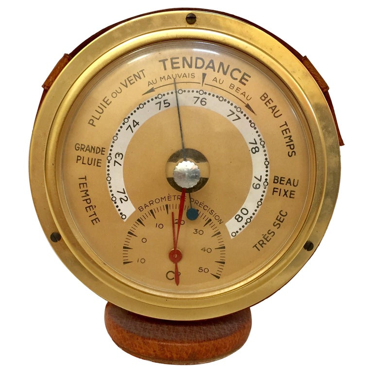 Brass German Barometer with Readings in French Wrapped in Leather, Adnet Style