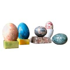 Postmodern Hand Carved & Burnished Stone Egg & Holster Set, Memphis Inspired
