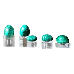 Midcentury Green Malachite Burnished Egg Set of Five, Russian, Belle Époque