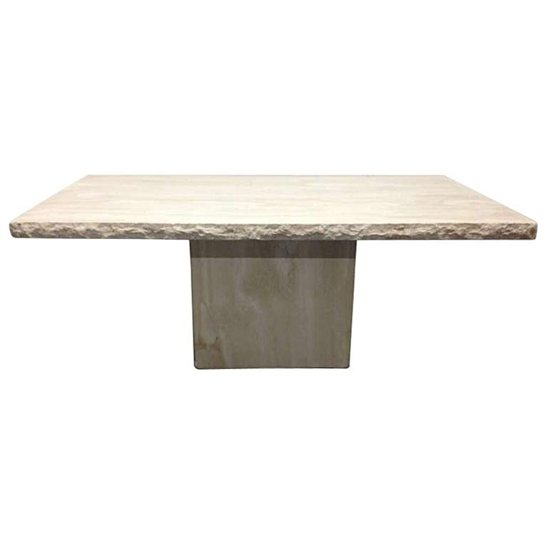 Large Italian Travertine Table For Sale
