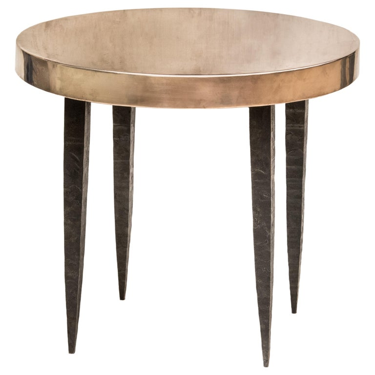 Round Bronze Side Table with Tapered Steel Legs For Sale