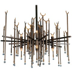 Andalusia Contemporary Chandelier in Fully Loaded Brass and Crystal Beads