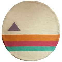 Geometric Technicolor Hand Embroidered Modern Round Rug, Carpet
