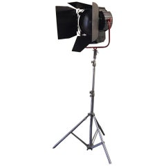 Black Matt Vintage Movie Light Floor Lamp with Red Metal Feature