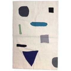 Geometric Tamara Hand Embroidered Blue Modern Rug, Carpet