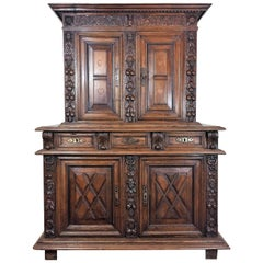 Renaissance Carved Walnut Double Trunk Buffet, circa 1600