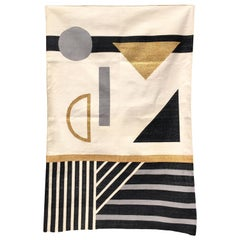 Geometric Valerie Handwoven Modern Black & White Cotton Rug, Carpet & Durrie