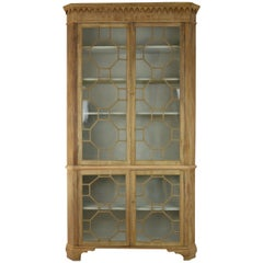 Antique Georgian Style Bleached Mahogany Astragal Glazed Bookcase
